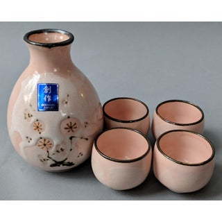 Vintage Japanese Sousaku Sake Pitcher & Glasses Set - 5 Piece Set Preview