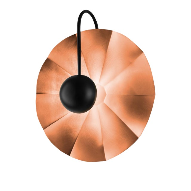 "Large Reflector Wall Light in Satin Copper With Satin Black (19.7"") For Sale"