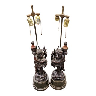 19th Century Asian Chinese Carved Wood Men Figural Statue Lamps - a Pair For Sale