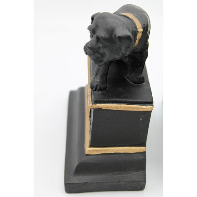 Mid 20th Century Black and Gold Ceramic Dog Bookends For Sale In Tulsa - Image 6 of 13