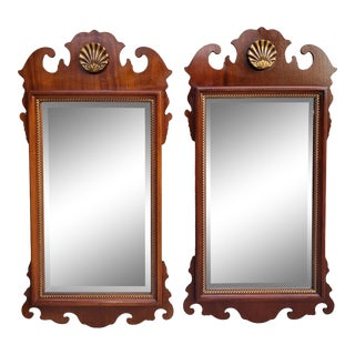 Vintage Chippendale Style Mahagony Mirror With Shell Motif-A Pair For Sale