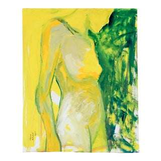Yellow and Green Nude Painting on Board For Sale
