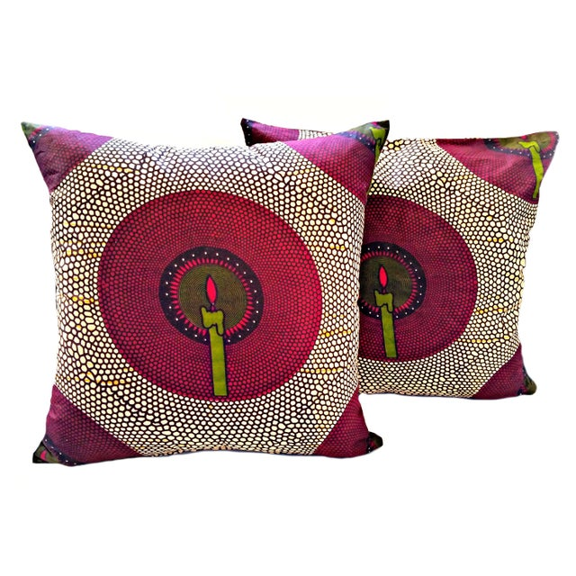 African Print Candlelit Fabric Pillow Covers - a Pair For Sale - Image 4 of 4