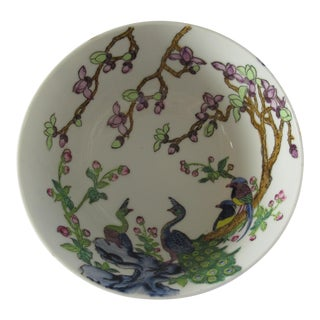 Vintage Asian Hand Painted Porcelain Peacock Catchall Bowl For Sale