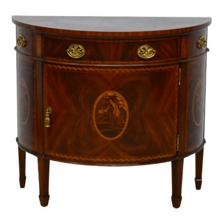 20th Century Traditional Maitland Smith Mahogany Inlaid Demilune Commode For Sale