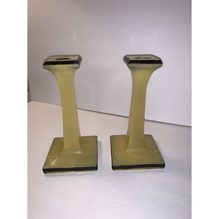 Vintage Mid-Century Modern Yellow and Black Candlesticks Find - a Pair Preview