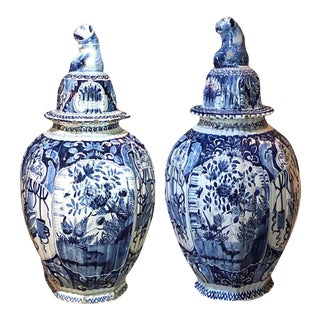 18th Century Dutch Lidded Urns - a Pair For Sale