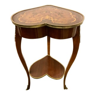 1950s Italian Marquetry Inlaid Heart Shaped End Table For Sale