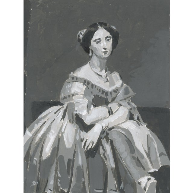 Contemporary Homage to Ingres Grisaille Portrait Acrylic Painting For Sale