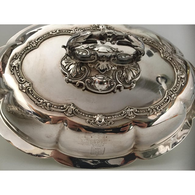 Silver Antique Sheffield Silver Plate Scroll Borders & Armorial Crest Serving Dish With Cover For Sale - Image 8 of 12