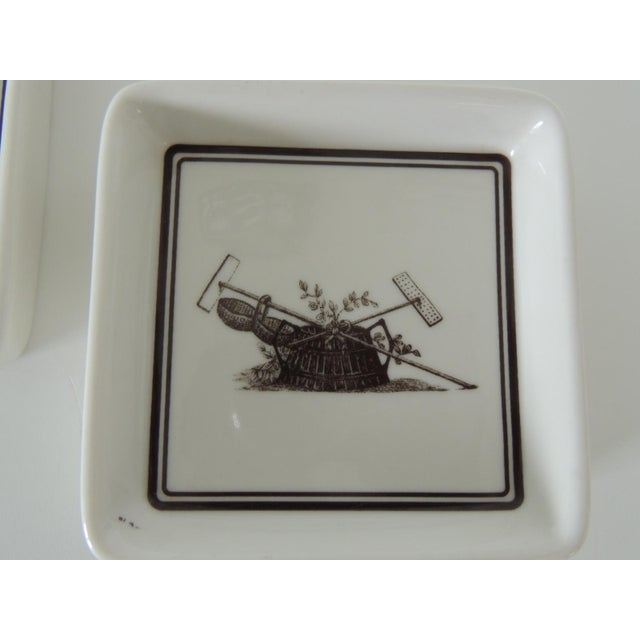 Pair of Vintage Porcelain Square Black & White Coasters With Garden Scene For Sale - Image 4 of 5