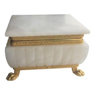 Italian Alabaster & Brass Jewelry Box