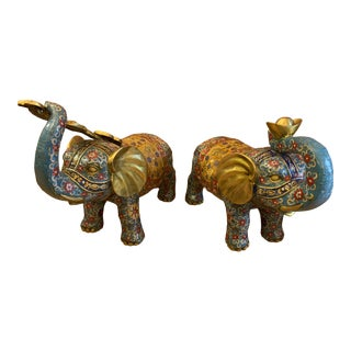 Antique Tibetan Buddhism Feng Shui Bronze and Hand Painted Cloisonne Elephant Sculptures - a Pair For Sale