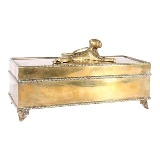 Vintage Brass Dresser Box With Cheetah For Sale