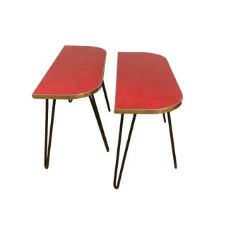 1950's Mid-Century Modern Red Formica & Chrome End Tables - a Pair For Sale