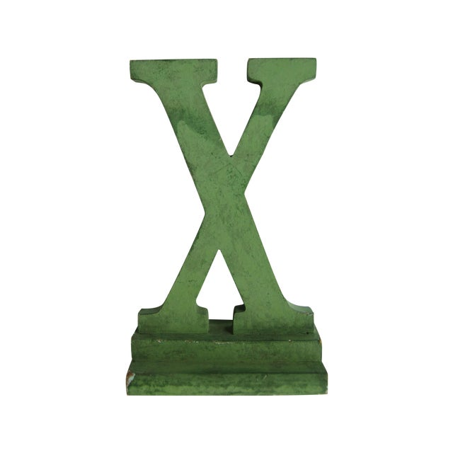 Vintage Green Painted Wood Letter X For Sale