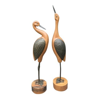 Vintage Large Wood Brass Cranes on Pedestals - a Pair For Sale