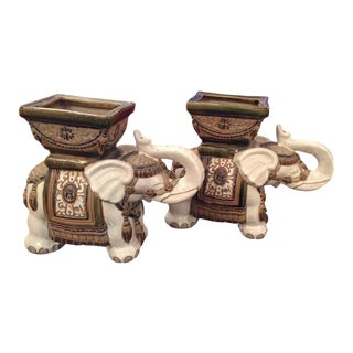 Vintage Terra Cotta Elephant Garden Pots, Planters Stands - a Pair For Sale