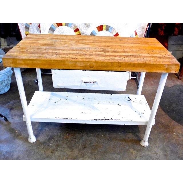 White Iron Kitchen Island With Butcher Block - Image 2 of 10