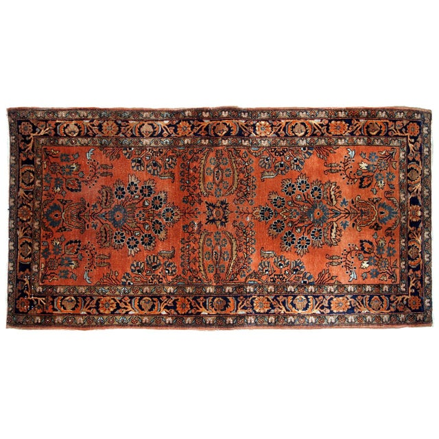 Red 1920s Handmade Antique Persian Sarouk Rug 2.1' X 3.10' For Sale - Image 8 of 9