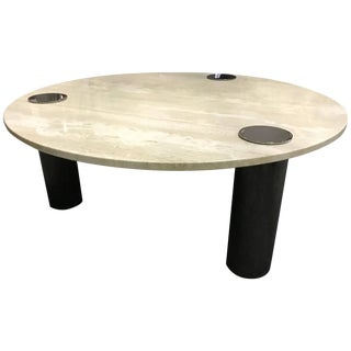 Travertine Coffee Table Round With Chrome Pillars For Sale