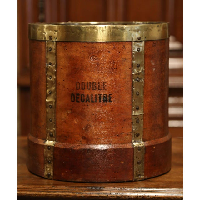 19th Century French Walnut, Brass and Iron Grain Measure Bucket or Waste Basket For Sale - Image 4 of 9