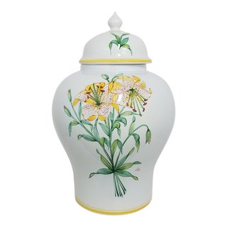 Vintage 1970s Italian Hand Painted Lily Ginger Jar For Sale