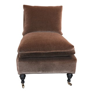 Chocolate Mohair Slipper Chair With Espresso Finish Legs For Sale