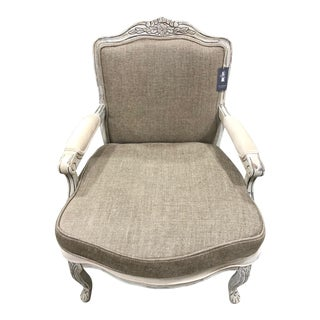 1960s French Tan Linen Bergere Chair
