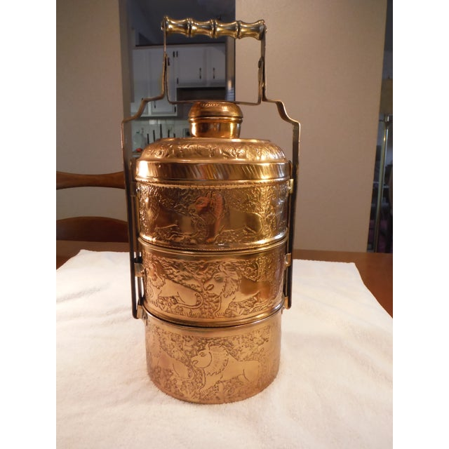 "Vintage Copper Clad ""Tiffin"" or ""Dabba"" - Image 2 of 9"