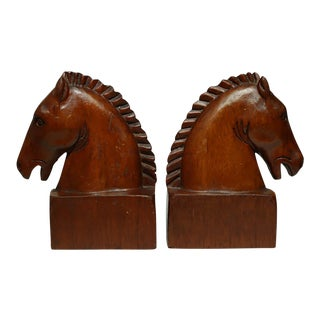 Pair of 1950s Wooden Horse Bookends For Sale