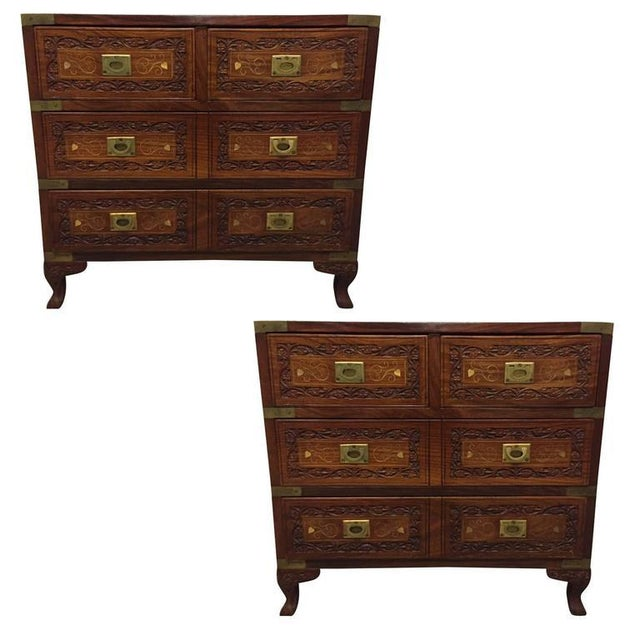 Pair of Vintage Mahogany and Brass Inlay Campaign Chests For Sale - Image 9 of 9