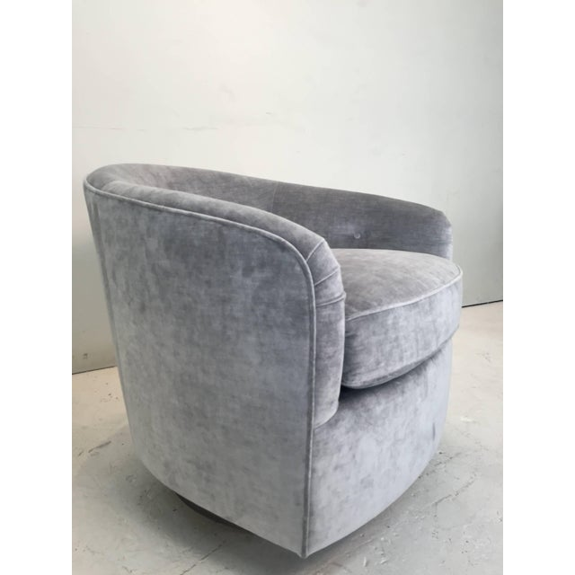 Pair Milo Baughman Style Swivel Chairs For Sale In Dallas - Image 6 of 9