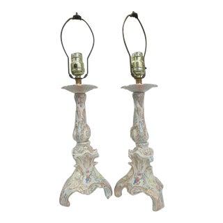 Vintage Ceramic Capo DI Monte Style Floral Lamp For Sale