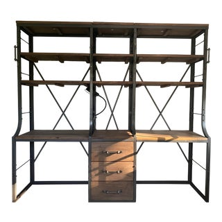 French Library Double Desk With Shelves For Sale