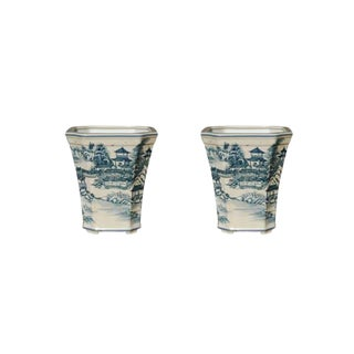 Chinoiserie Blue & White Cachepots - a Pair For Sale
