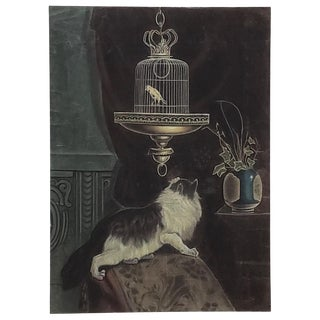 The Cat and the Canary Original Pastel Painting Early to Mid 20th Century For Sale