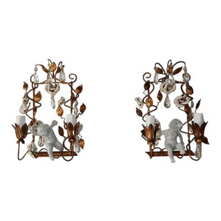 French Porcelain Swinging Cherubs Tole and White Roses With Prisms Sconces For Sale