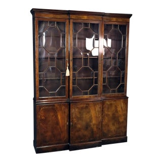 1940s Vintage Baker Georgian Style Flame Mahogany Breakfront For Sale