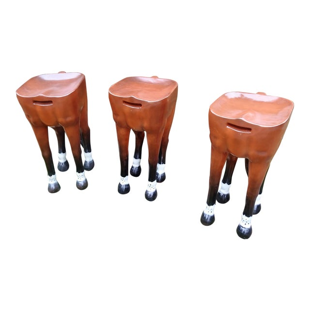 Horse-Shaped Bar Stools - Set of 3 - Image 1 of 6