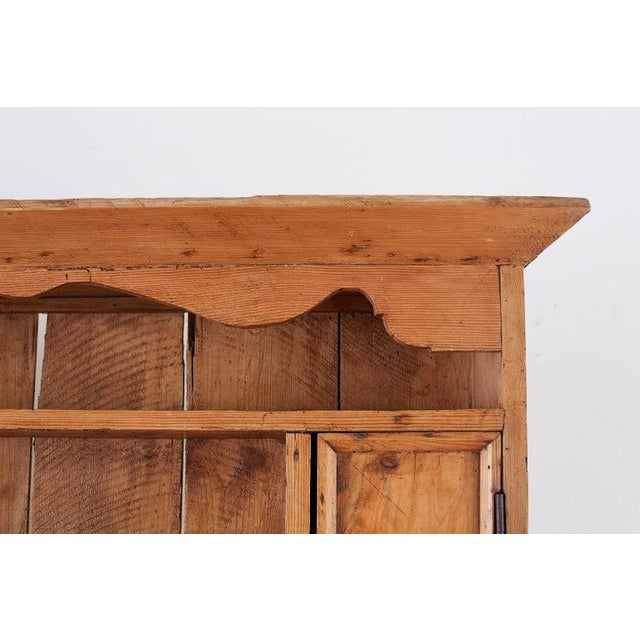 19th Century English Pine Cupboard Dresser With Rack For Sale - Image 9 of 13
