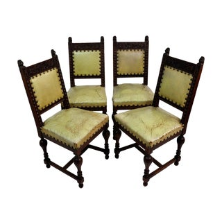 Antique Henry IV Leather & Oak Dining Chairs - Set of 4