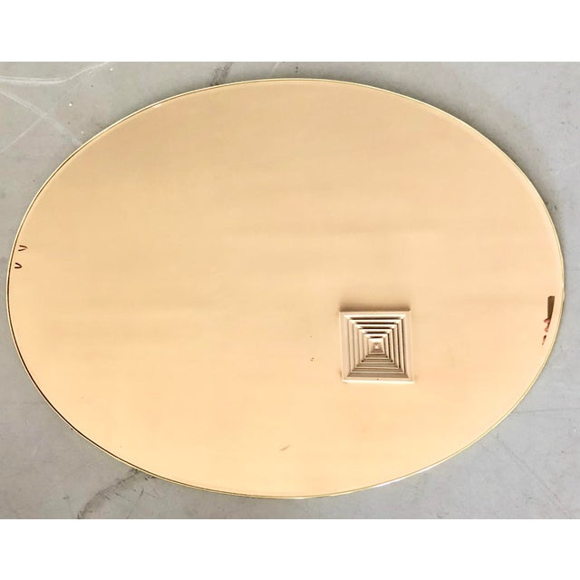 1980s Italian Oval Brass Frame Gold Mirror For Sale - Image 5 of 5