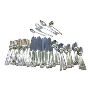 1941 Eternally Yours 1847 Rogers Bros Modernist Silver Plate Set for 12+ Flatware - 76 Piece For Sale