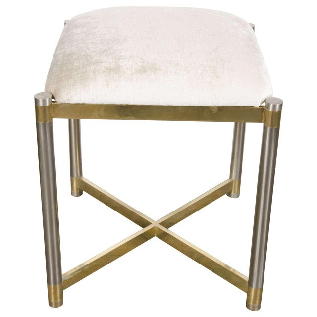Brass Mid-Century Modernist X-Form Stool in the Manner of Karl Springer For Sale - Image 7 of 7