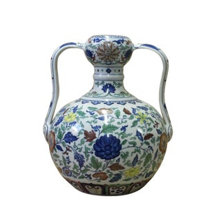 Double Handle Handmade Porcelain Vase With Beautiful Forest Flower Graphics Painting For Sale