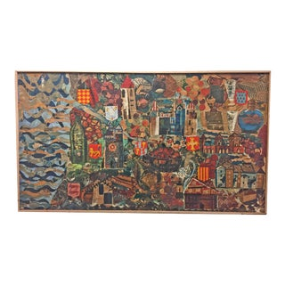 Vintage Abstract Painting on Styrofoam Board by French School Children For Sale