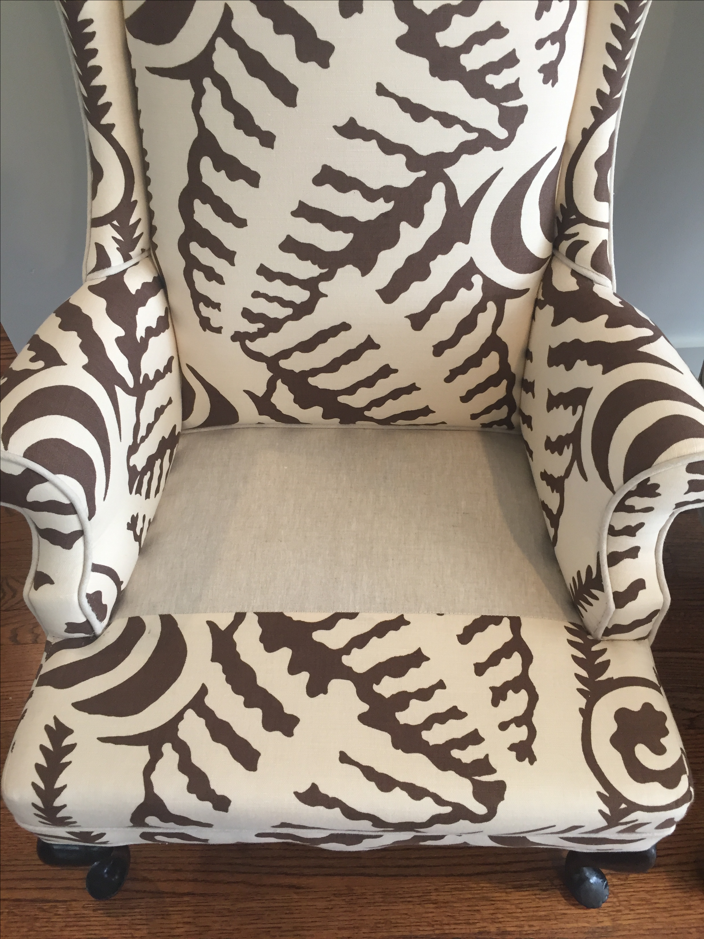 Quadrille Fabric Wingback Chairs   A Pair   Image 5 Of 10