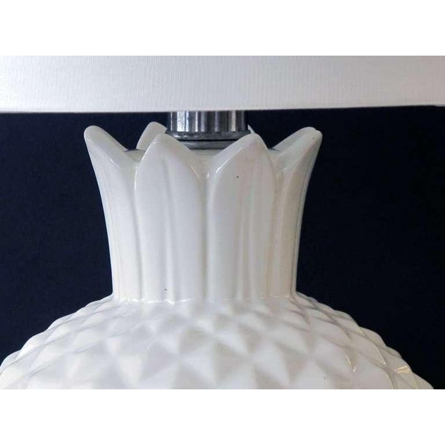 A Robust and Large-Scaled Pair of Italian 1960's White Ceramic Pineapple-Form Lamps For Sale - Image 4 of 6