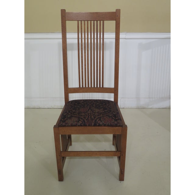 Arts & Crafts Stickley Mission Oak Arts & Crafts Dining Chairs- Set of 6 For Sale - Image 3 of 12